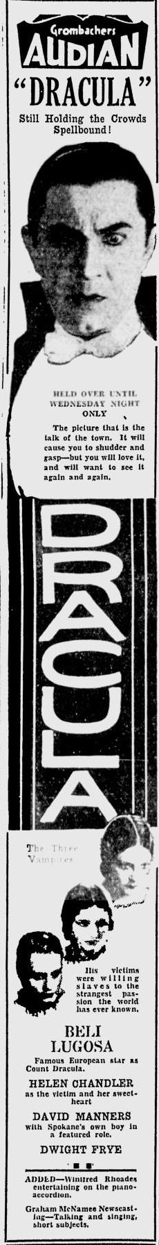 Dracula. Spokane Daily, April 13, 1931