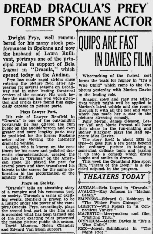 Dracula. Spokane Daily Chronicle, April 9, 1931