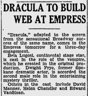 Dracula, Spokane Daily Chronicle, June 20, 1931 2