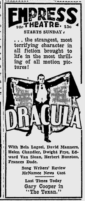 Dracula, Spokane Daily Chronicle, June 20, 1931