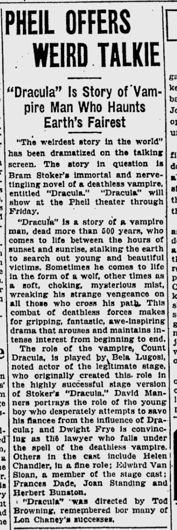 Dracula, St. Petersburgh Times, February 22, 1931 3