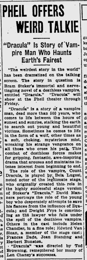 Dracula, St. Petersburgh Times, February 22, 1931 3