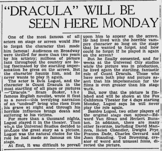 Dracula, The Berkeley Gazette, April 24, 1931 2
