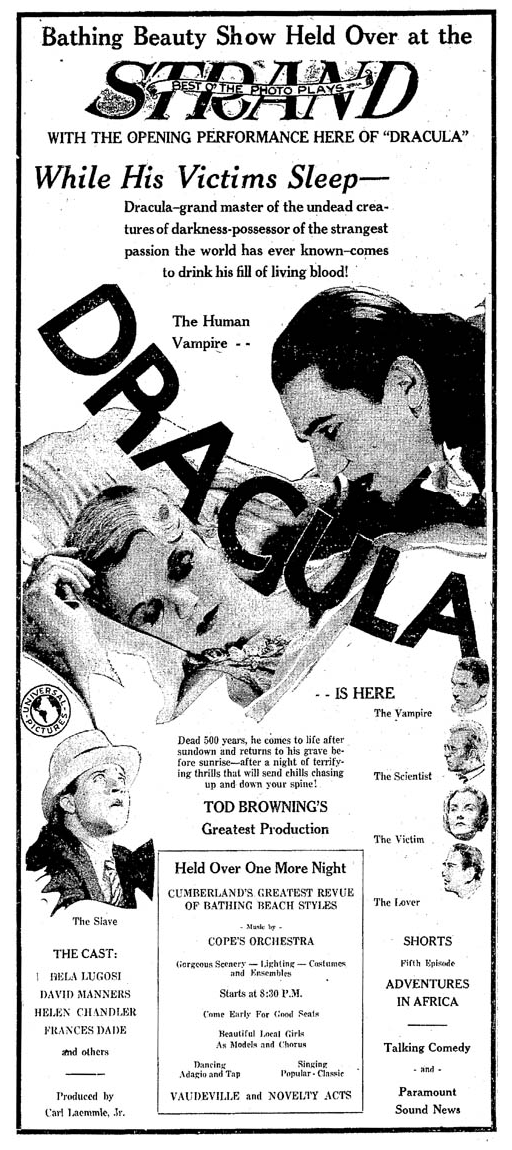 Dracula, The Cumberland Evening Times, June 10, 1931