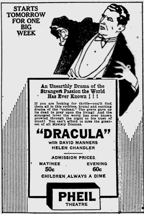 Dracula. The Evening Independent, February 20, 1931