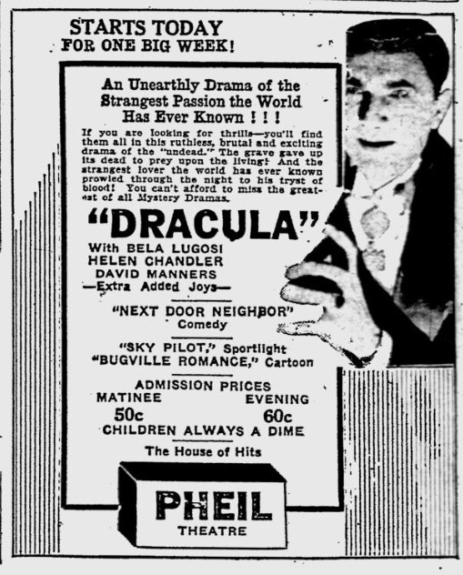 Dracula. The Evening Independent, February 21, 1931