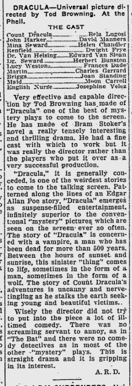 Dracula. The Evening Independent, February 23, 1931 2
