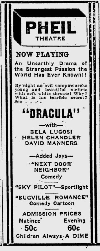 Dracula. The Evening Independent, February 23, 1931
