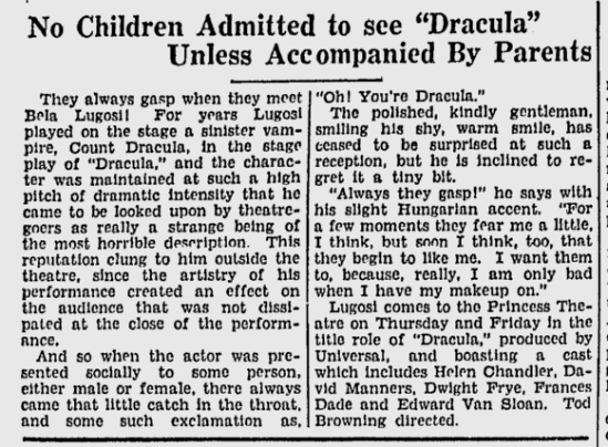 Dracula The Florence Times-News, September 23, 1931 2