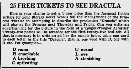 Dracula The Florence Times-News, September 23, 1931 3