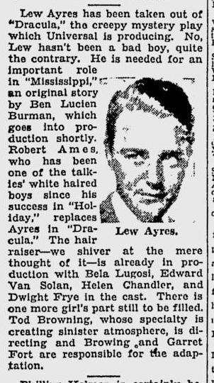 Dracula, The Milwaukee Sentinel, October 4, 1930