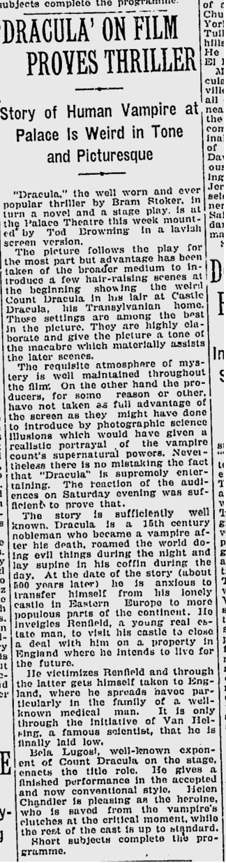Dracula, The Montreal Gazette, March 16, 1931 2