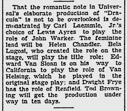 Dracula, The Norwalk Hour, September 24, 1930