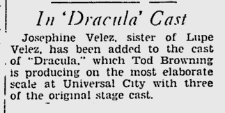 Dracula, The Pitsburgh Press, November 9, 1930
