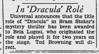 Dracula The Pitsburgh Press, September 28, 1930