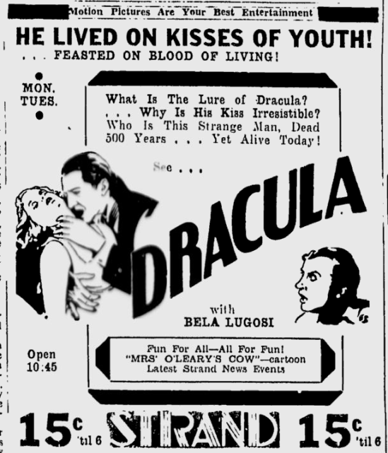 Dracula, The Sunday Spartanburgh Herald-Journal, October 9, 1938