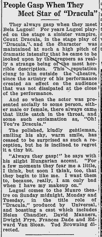 Dracula, Turtle Mountain Star, August 27, 1931