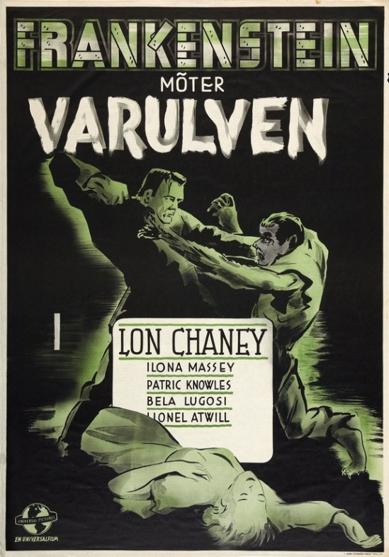 Frankenstein Meets The Wolf Man 1944 Swedish One Sheet