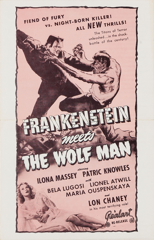 Frankenstein Meets The Wolf Man 1949 Re-Release Pressbook 1
