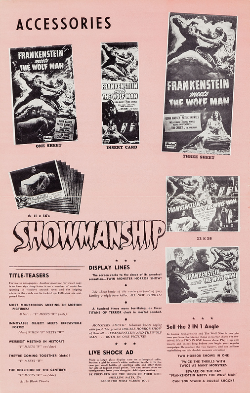 Frankenstein Meets The Wolf Man 1949 Re-Release Pressbook 2
