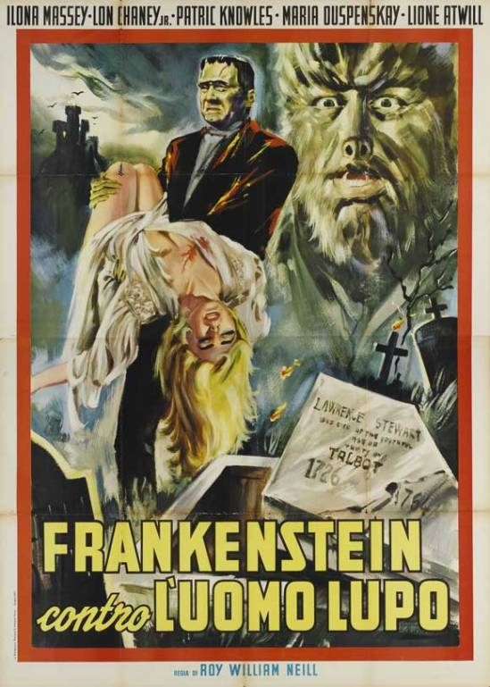 Frankenstein Meets the Wolf Man 1963 Italian Re-Release Locandina