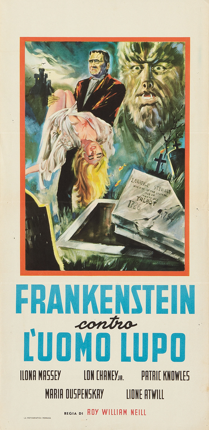 Frankenstein Meets The Wolf Man 1963 Italian Re-Release Locandina 13 X 27.5