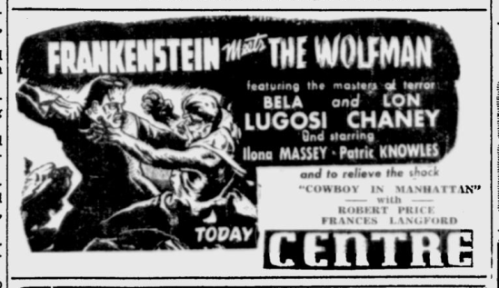 Frankenstein Meets The Wolf Man, Ottawa Citizen, June 5, 1943b