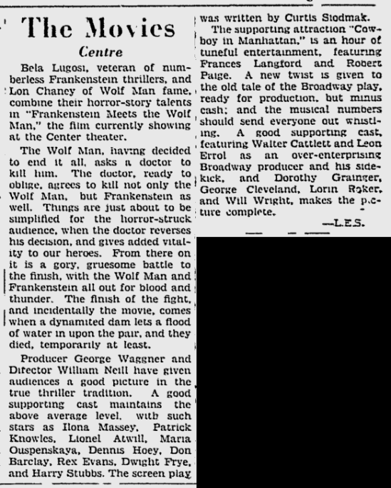 Frankenstein Meets The Wolf Man, Ottawa Citizen, June 5, 1943c