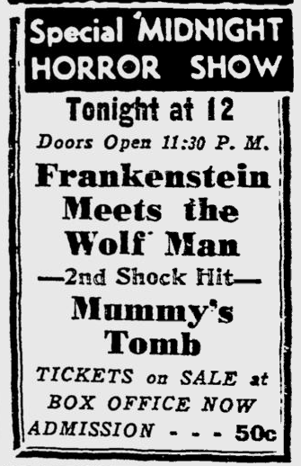 Frankenstein Meets The Wolf Man, Reading Eagle, November 17, 1950