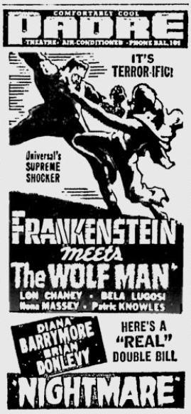 Frankenstein Meets The Wolf Man, San Jose Evening News, May 28, 1943 ad