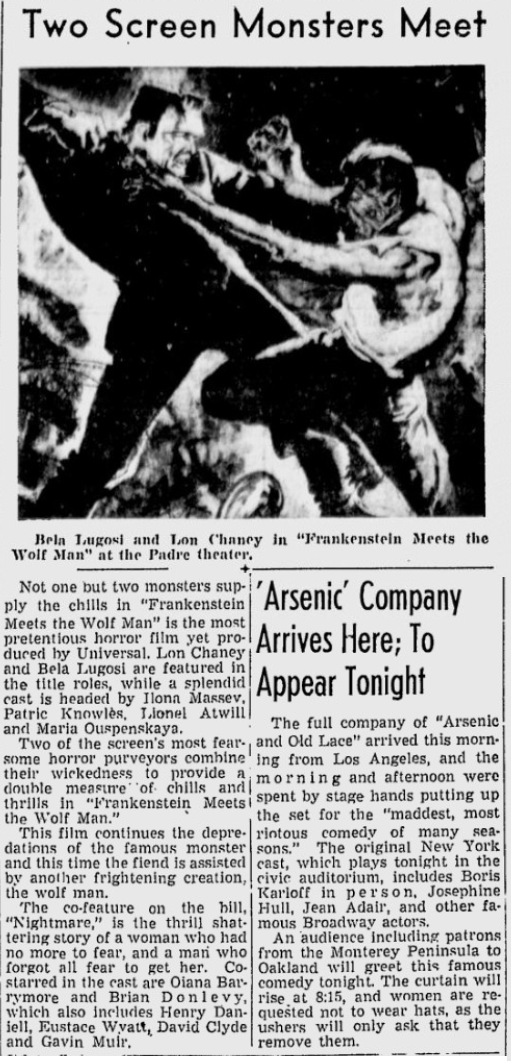 Frankenstein Meets The Wolf Man, San Jose Evening News, May 28, 1943