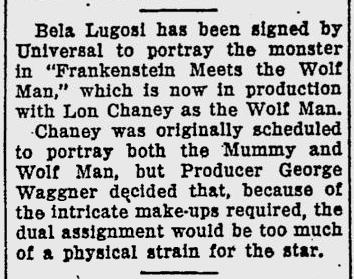 Frankenstein Meets The Wolf Man, The Evening Independent, November 20, 1942