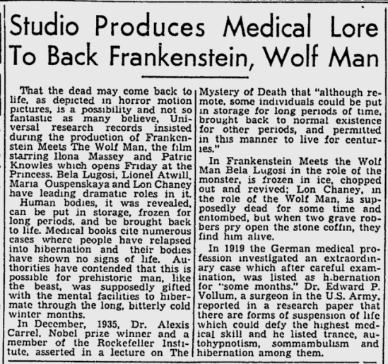Frankenstein Meets The Wolf Man, The Montreal Gazette - Jun 2, 1943b