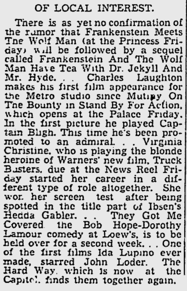 Frankenstein Meets The Wolf Man, The Montreal Gazette, June 2, 1943