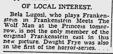 Frankenstein Meets The Wolf Man, The Montreal Gazette, June 3, 1943