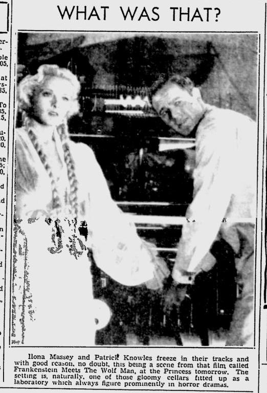 Frankenstein Meets The Wolf Man, The Montreal Gazette, June 3, 1943b