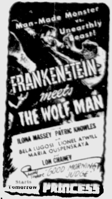 Frankenstein Meets The Wolf Man, The Montreal Gazette, June 3, 1943c