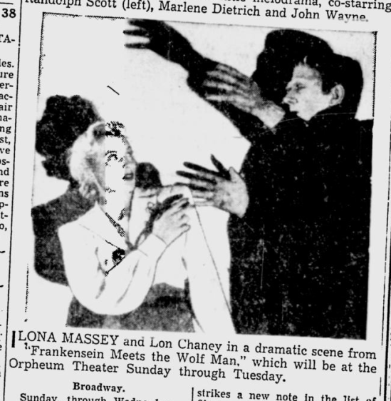 Frankenstein Meets The Wolf Man, The Southeast Missourian, May 29, 1943