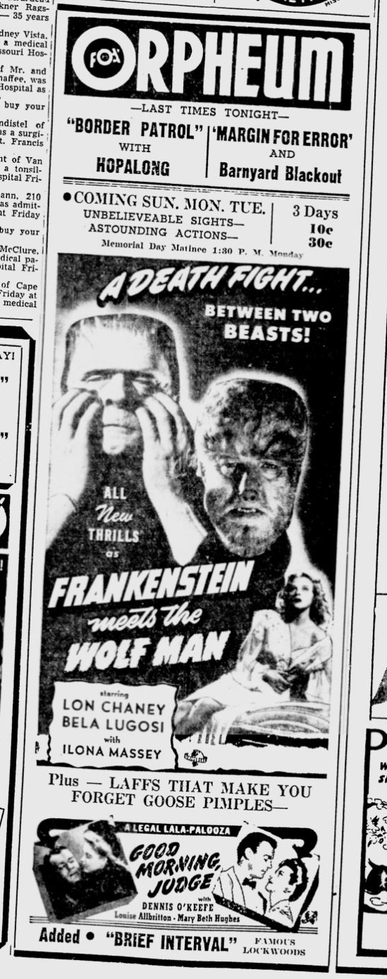 Frankenstein Meets The Wolf Man, The Southeast Missourian, May 29, 1943b