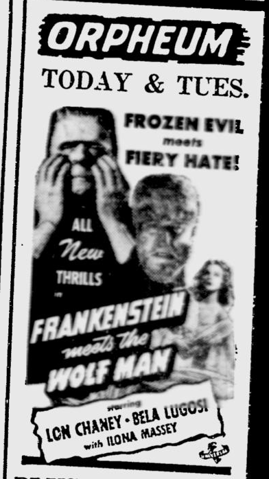 Frankenstein Meets The Wolf Man, The Southeast Missourian, May 31, 1943