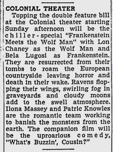Frankenstein Meets The Wolf Man, The Telegraph, December 18, 1943