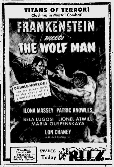 Frankenstein Meets The Wolf Man, The Tuscaloosa News, October 1, 1950
