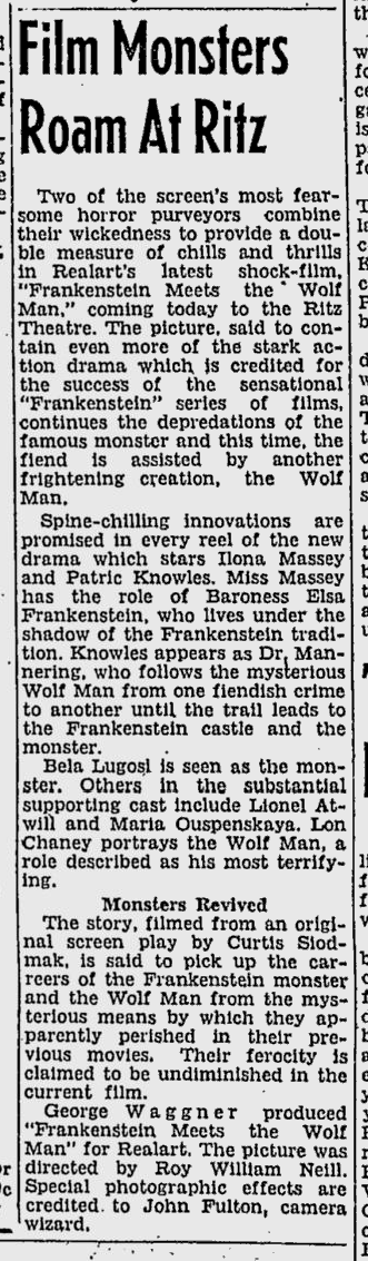 Frankenstein Meets The Wolf Man, The Tuscaloosa News, October 1, 1950b