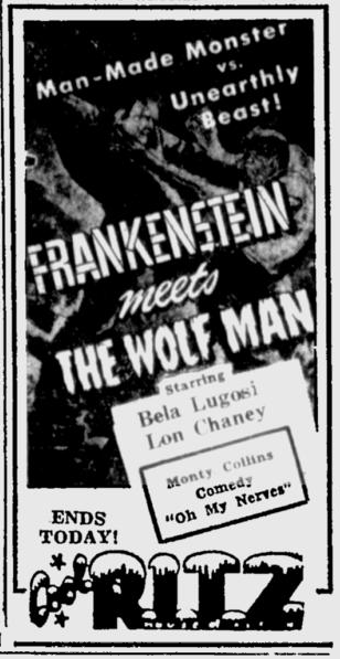 Frankenstein Meets The Wolf Man, The Tuscaloosa News, October 2, 1950