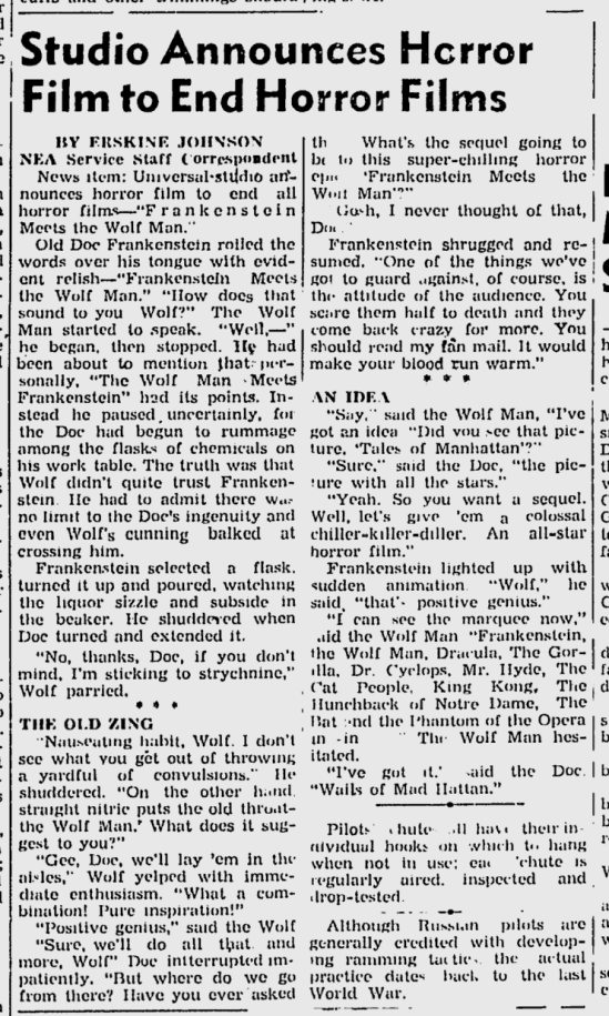 Frankenstein Meets The Wolf Man, The Victoria Advocate, December 15, 1942