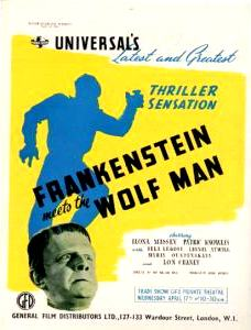 Frankenstein Meets The Wolf man UK Trade Ad