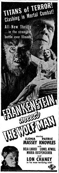 Frankenstein Meets The Wolf Man, Yale Daily News no. 59 April 9 1943 Adv. 6 Page 3