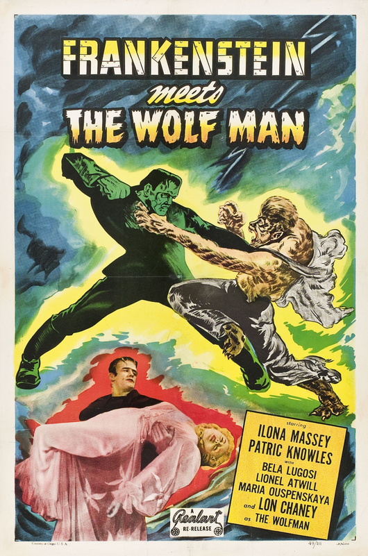 Frankenstein Meets The Wolfman 1949 Re-Release One Sheet