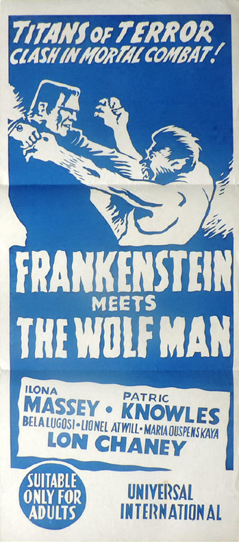 Frankenstein Meets The Wolfman 1950s Australian Daybill