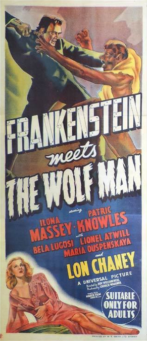 Frankenstein Meets The Wolfman Australian Daybill